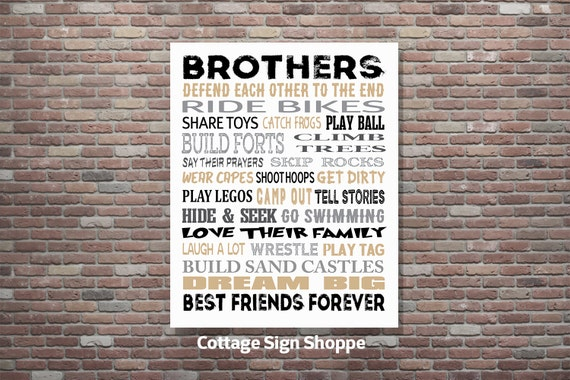 """Brothers Signs, Brothers Decor, Brothers Wall Art, 8 x 10, 11 x 14, 16 x 20"""", INSTANT DOWNLOAD, YOU Print, Brothers Playroom art, Brothers"""