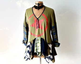 Rustic Tattered Shirt Army Green Faux Layered Top Upcycled Clothing Bohemian Chic Tunic Eco Fashion Long Sleeve Winter Shirt Large 'MACIE'