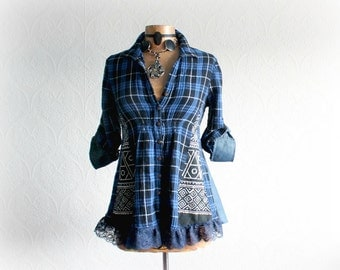 Blue Plaid Country Shirt Upcycled Art Top Boho Women's Clothes Fit Flare Bohemian Tunic Eco Friendly Fashion Babydoll Shirt S M 'JESSICA'