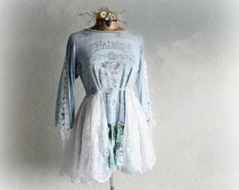 Lace Fairy Top Shabby Chic Clothing Blue Upcycled Shirt Ethereal Style Woodland Clothes Lace Up Corset Boho Women's Tunic XL 'AMANDA'