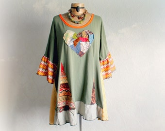 Plus Size Hippie Top Chic Colorful Tunic Summer Festival Wear Upcycled Clothing Boho Gypsy Tribal Women's Shirt Wearable Art Top 3X 'MAISY'