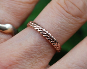 3mm width 10k rose gold braid ring