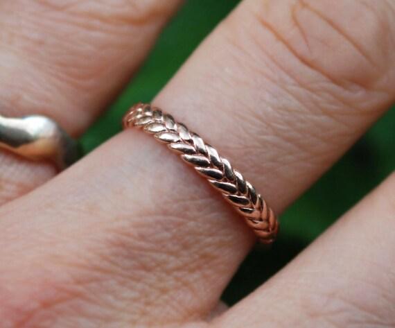 3mm width 10k rose gold braid ring