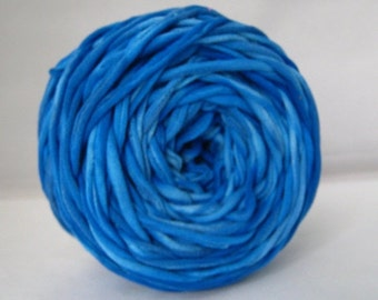 T Shirt Yarn Hand Dyed- Marbled Neon Blue 60 Yards