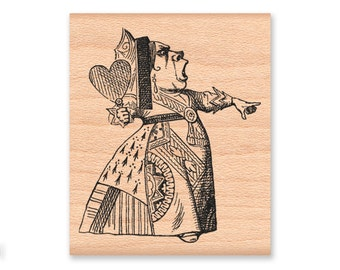 QUEEN OF HEARTS Rubber Stamp~Alice in Wonderland~Large Wood Mounted Stamp~Mountainside Crafts (48-16)
