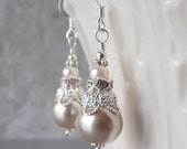 Bridesmaid Jewelry Beige Pearl Earrings Bead Dangles Silver Filigree Sterling Silver Earwires Beige and Ivory  Bridesmaid Gift Under 20
