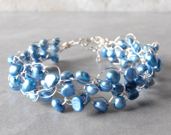 Wire Crochet Bracelet Blue Freshwater Pearl Bracelet Beaded Wire Bracelet Genuine Pearl Jewelry Blue Bridesmaid Gift Silver Under 30