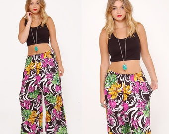 Vintage 90s TROPICAL Print Pants Floral PALAZZO Pants HIPSTER Wide Leg Pants Graphic Print Relaxed Fit Pants