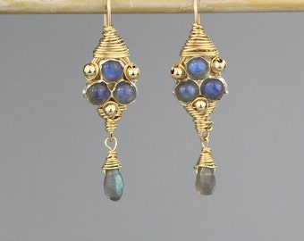 Labradorite Drop Earrings, Dangle Earrings, Unique Jewelry, Gold Filled Earrings, Dangle Earrings, Labradorite Jewelry, Labradorite Earrings