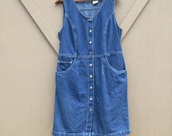 90s vintage Dark Wash Denim Button Front Sleeveless Jean Dress / St. John's Bay