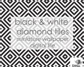 "Digital Download ""Black and white diamond tiles"" - miniature dollhouse wallpaper"