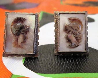 CUFFLINKS - Antique - CARVED - CAMEO - Knights - Brown Onyx - MoP - Mother of Pearl  - Sterling Silver    misc436