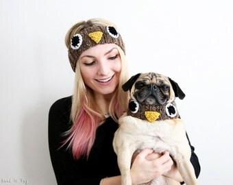Owl Human Headband and Knit Dog Collar Set - Dog Scarf - Dog Neck Warmer - Owl Headband