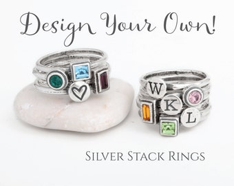 Design your Own Silver Stackable Rings. Mix Initial and Birthstone Stack Rings to create your own personalized look! Great Gift for Mom