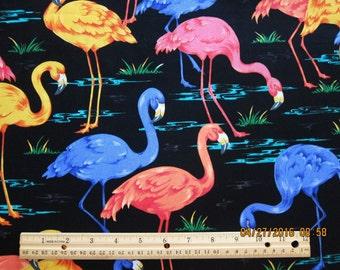 RARE FLAMINGO FABRIC - Vip Cranston Print Works -  Flamingos on Black 1 Yard - Available for a Caddie