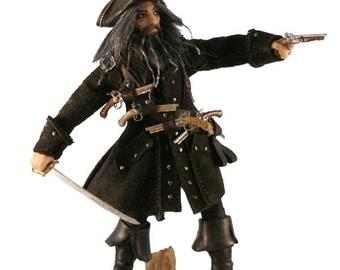 Blackbeard Pirate Handmade Miniature Doll/Figure/Art Doll