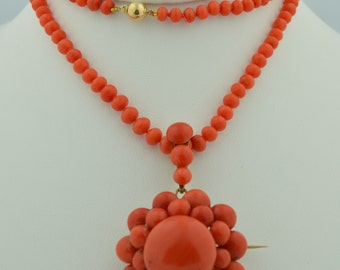 Exceptional Victorian 14K Natural Mediterranean Coral Necklace