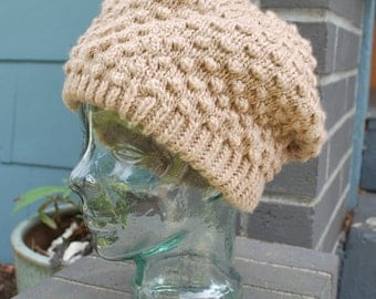 Vintage Womens Slouchy Knit Hat Puff Stitch Tan Winter Hat