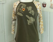 Memento Mori UPCYCLED Raglan Sleeve Ladies T-Shirt, size MD/LG