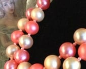 Very Large Bubblegum and Light Pink Double Strand Bead Necklace