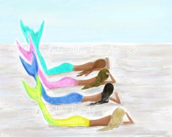 """Mermaid Art Print """"The Fabulous Four Mermaids"""" Mermaid Friends Sisters Daughters Mom Girls Sisters Beach House Decor  Leslie Allen Fine Art"""