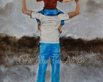 "Father Art Father Son Art Print Dad Son Big Brother Daddy Boy Family Fathers Day ""Daddy's Little Man"" Leslie Allen Fine Art"