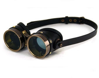 STEAMPUNK GOGGLES black leather blackened brass SMPL