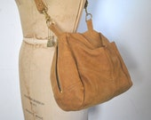 VICTORIA Leather Co Brown Leather Purse / Droplet 1980s Shoulder Pillow Bag