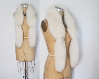 Large White Fox Fur Collar Scarf / bridal wedding