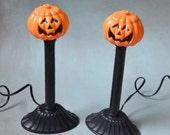 Vintage Halloween Jack-O-Lantern Pumpkin Candle Stick Lights Pair