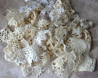 Antique Lace Trim Bits & Pieces Lot Ecru White