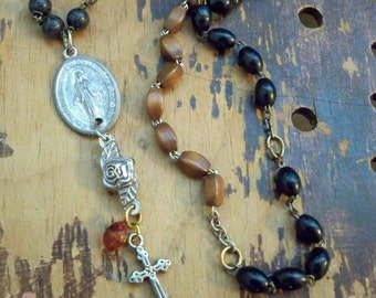 Rosary necklace - brown & black rosary beads and medals recycle - One of a Kind bycat