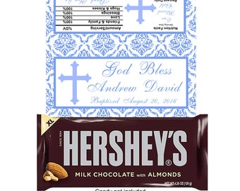 6 Personalized Baptism Self Adhesive Candy Bar Wrappers