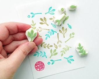 mini leaf rubber stamp set. botanical hand carved rubber stamp. woodland stamp. scrapbooking. gift wrapping. spring crafts. set of 5. no3