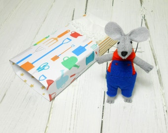 Kids gift mouse with bed small felt animals stocking felt mouse in a matchbox waldorf doll gift for garden lovers blue orange