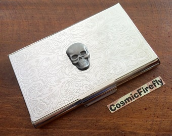 Business Card Case Metal Skull Vintage Inspired Gothic Victorian Steampunk Style Slim Wallet Silver Plated Business Card Case