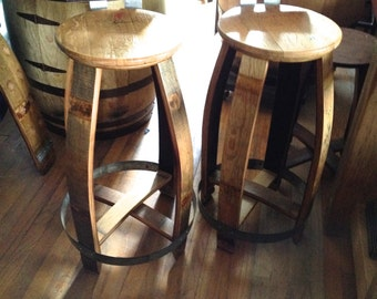 Wine Barrel Barstool with Back, Natural Finish
