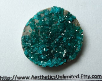 Sale 19.5 Carat DIOPTASE Natural Teal Blue Green Round Shape Cut Druzy Crystal Cabochon From Kazakhstan Sale