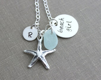 Beach Girl, Personalized Charm Necklace, Sterling Silver Starfish, Sea Glass and Mini Initial, Sea Foam, Mint Green, Hand Stamped seaglass