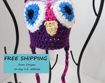 Owl Hat, Little Hoot, Infant hat, Pink & Purple Owl Baby Hat, Baby Girl Photo Prop