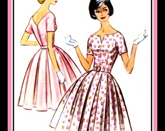 Vintage 1961-PRETTY IN PINK-Bouffant Dress-Sewing Pattern-Scoop Neckline- Unmounted  Sleeves-Box Pleated Twirl Skirt-Uncut-Size 14-Rare