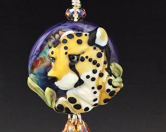 Cheetah Queen original custom handmade lampwork leopard bead pendant SRA