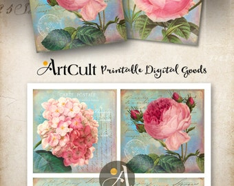 "Printable Digital Download SHABBY VICTORIAN FLOWERS Collage Sheet 3.8""x3.8"" size images for Coasters, Greeting cards, Gift Tags by ArtCult"