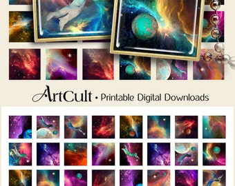 Digital Collage Sheets SPACE NEBULA Printable Download 1x1 inch and 1.5x1.5 inch size Images for pendants magnets bezels DIY craft projects