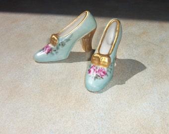 Vintage Limoges Handpainted High Heel Shoes Pink Rose Gold Bows porcelain miniature