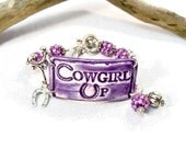 Purple Cowgirl Bracelet, Country Western Jewelry, Cowgirl Bracelet, Cowgirl Up, Western Cowgirl Jewelry, Horseshoe Charm Bracelet