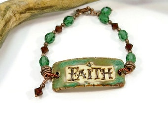 Inspirational Ceramic Cuff Bracelet, Faith Pottery Cuff Bracelet, Green and Brown, Glass Beads and Swarovski Crystals, Rustic Designs