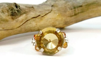 Topaz Stretch Ring, Crystal Cocktail Ring, Rhinestone Stretch Band Ring, Handmade Ring, Gift for Her, Women's Ring, Gifts for Her