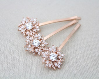 Rose gold hair pin, Bridal hair pins, Rose Gold Wedding hair pins, Bridal hair clips, Crystal hair pins, Hair accessories, Rose Gold clips