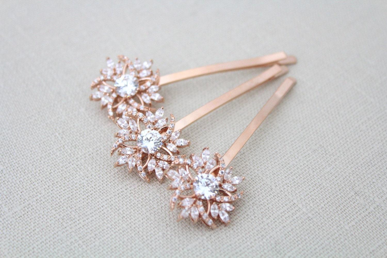 rose gold hair pin bridal hair pins rose gold wedding hair